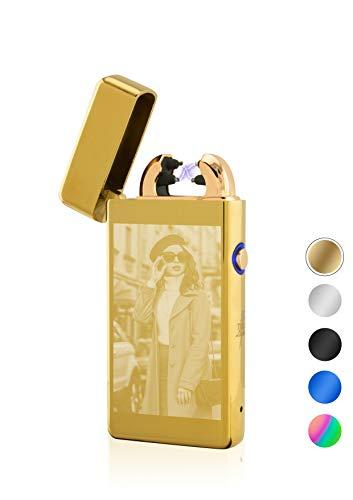 TESLA Lighter T08 elektronisches USB Lichtbogen Feuerzeug, Gold inkl. Fotogravur