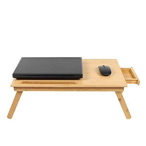 Angela Tragbarer, zusammenklappbarer Laptop-Schreibtisch im Holzstil, leicht abführbar, höhenverstellbar, mit Kleiner Aufbewahrungsschublade, für zu Hause, Studentenwohnheim