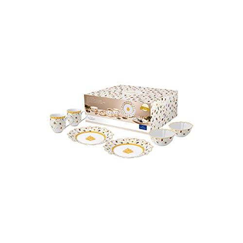 Villeroy & Boch - Toys Delight Set da colazione per 2, 6 pz, servizio di stoviglie natalizio per 2 persone edizione anniversario, porcellana, bianco