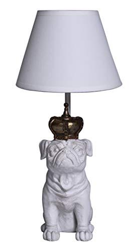 Mops Tischleuchte Vintage Weiss Mopskönig Lampe Carlin Pug Tischlampe Leuchte cw107 Palazzo Exklusiv