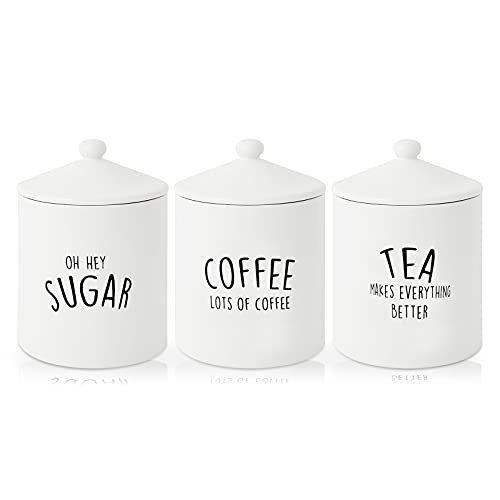 Kitchen Ceramic Canister Set of 3, Airtight Ceramic Canisters with Lid, Decorative Coffee, Sugar, Tea Storage Containers for Kitchen Counter, Rustic Farmhouse Decor, Ivory 28.74OZ(850ML)