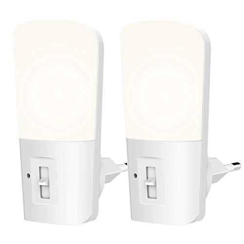 LOHAS LED-nachtlampje met Lichtsensor, Dimbaar van 5LM tot 80LM, Nachtlampje met Stopcontact, 6000K Koelwit, voor Kinderkamer, Trap, Gang, Badkamer, 1W = 15W, 180 ° Stralingshoek, 2 Stuks