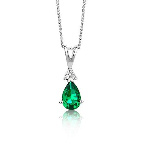Miore Schmuck Damen 0.02 Ct Diamant Halskette mit Anhänger Edelstein/Geburtsstein grüner Smaragd und Diamanten Brillanten elegante Kette aus Weißgold 9 Karat / 375 Gold