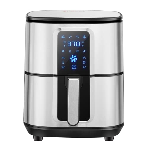 KITCHER KAF6501 6.8QT, Large Hot Air Fryer Oven with Temperature Timer Control Digital LED Touch Screen 50 Recipes Cookbook Auto Shut, Silver