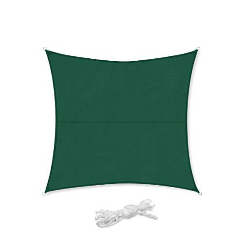 Sekey Toldo Vela de Sombra Cuadrado Protección Rayos UV, Resistente Impermeable para Patio, Exteriores, Jardín, 3×3m Verde