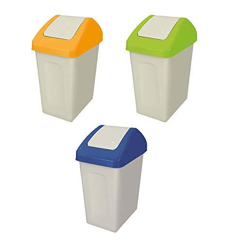BranQ - Home essential 5901098043502 Lot de 3 poubelles de 25 l, Plastique PP, Jaune/Bleu/Vert, 24x39x50 cm (LxBxH)