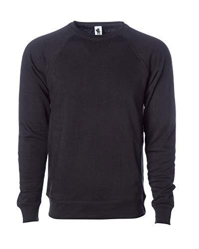 Global Blank Men's Premium Crewneck Fleece Sweatshirt Performance Pullover Crew Black