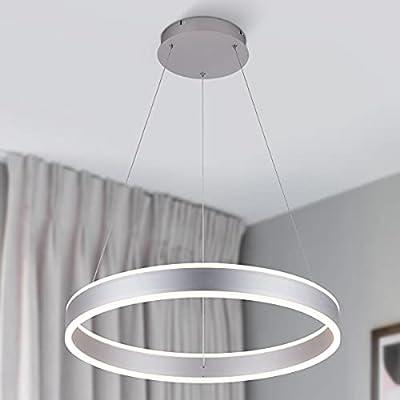 ROYAL PEARL Modern Foyer Pendant Light Dimmable 6460lm 76W LED Chandelier Adjustable Hanging Pendant Lighting for Living Dining Room Bedroom, 6000K, Silver
