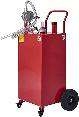 CO-Z Gas Tank with Pump, 35 Gallon Gas Caddy Portable Fuel Transfer Tank, Gasoline Container on Casters & Wheels, Gas Cans Fuel Storage for Cars, Boats, Outboard, Lawn Mowers
