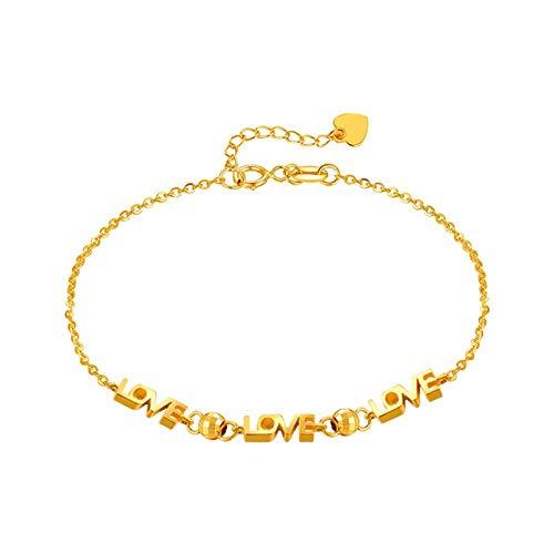 Beydodo Pulsera Mujer de Oro,Pulsera Mujer Oro Amarillo 18 Kilates Cadena de Rolo con Love Longitud 16cm + 2cm