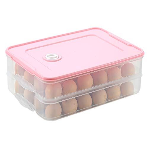 Plastic koelkast en panterie ei, modulair stapelen voedsel opbergdoos voor vriezer, koelkast, BPA-vrij, 2 lagen