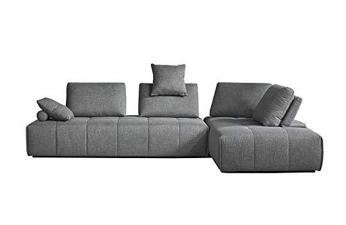 Meubletmoi hoekbank, aanpasbaar, links/rechts, stof, grijs, comfortabel – afneembare rugleuningen – voetenbank – modern design – Sudoku