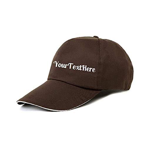 Gorra de béisbol personalizada con tu propio texto, palabras, slogans, nombre de la empresa bordado, ajustable, diseño curvo café Talla única