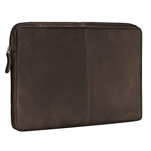 ROYALZ Ledertasche für Microsoft Surface Pro 7 & Pro 6 Tasche Leder Hülle 12,3 Zoll Vintage Lederhülle Schutzhülle Sleeve Etui Retro, Farbe:Dunkelbraun Matt