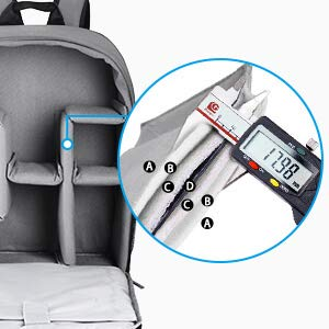 CADeN Kamerarucksack Camera Backpack Wasserabweisend Kameratasche Fototasche Kompatibel mit Sony Canon Nikon und 1 DSLR/SLR 7 Objektiv Stativ Zubehör (Grau-L)