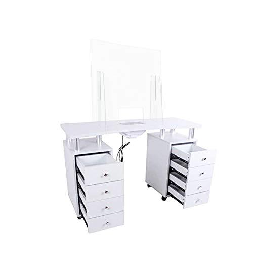 Maniküre-Tisch mit 8 Schubladen mit elektrischem Sauger aus Plexiglas, Nagelmodellage, professioneller Tisch komplett mit Plexiglasplatte