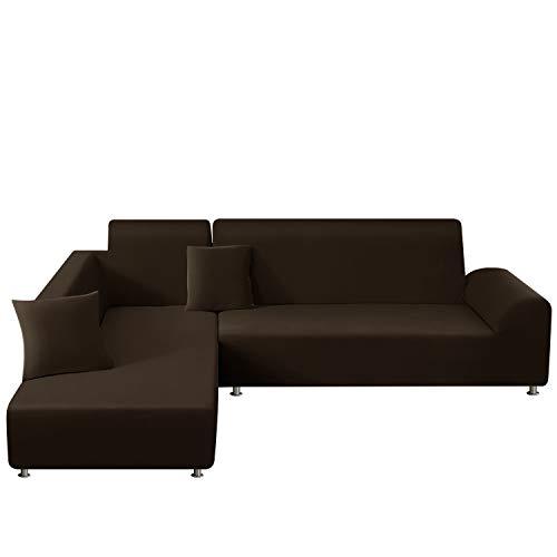 TAOCOCO Copridivano con Penisola Elasticizzato Chaise Longue Sofa Cover Componibile in Poliestere a Forma di L (Marrone, 3 Posti+3 Posti)