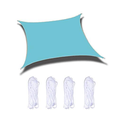 ZPYXBH Vela De Sombra Solar Rectángulo, Toldo Vela De Sombra UV Prevención Permeable Transpirable, Velas De Sombra para Jardín Patio Terraza Balcón Exteriores Pérgola con Cuerda,Azul,6'x6.5'