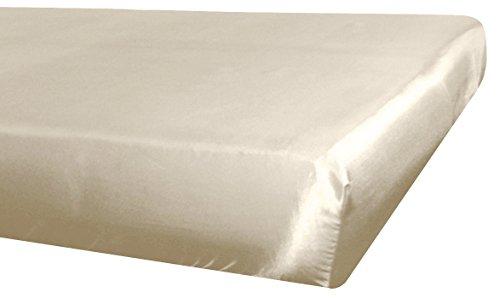 beties Glanz Satin Spannbetttuch ca. 140x200 cm Spannbettlaken (wählen Sie Ihren Kissenbezug + Bettbezug extra dazu) 100% Polyester Champagner