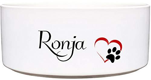 Cadouri Keramik Hundenapf ︎ personalisiert ︎ mit Name deines Hundes┊Futternapf Wassernapf (Herzpfote) - 1.300 ml