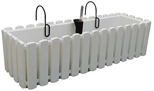 Prosperplast Boardee Fencycase balkonglåda med fjädring och bevattningssystem blomlåda blomkruka med krok planteringslåda (580 mm längd, vit)