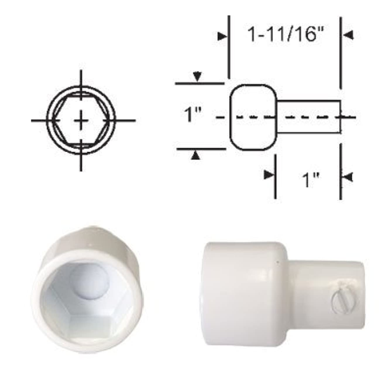 Replacement Hex Ball Adaptor for Skylight and Awning Window Operators, White