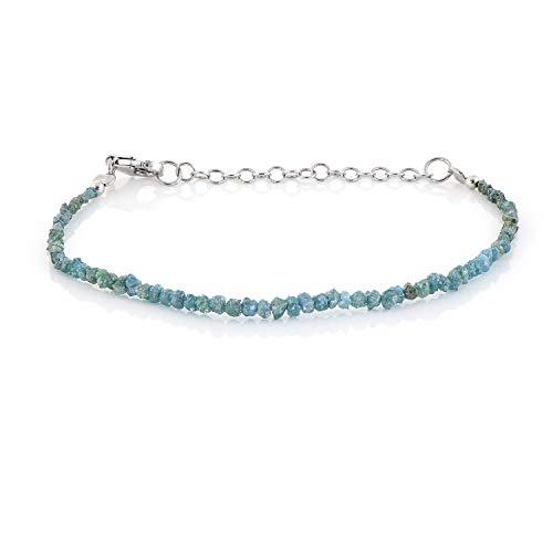 Armband mit rauem Diamanten, blaues Armband, echtes Grau, rauer Diamant, ungeschliffener Diamant, roh, als Weihnachtsgeschenk für Frauen