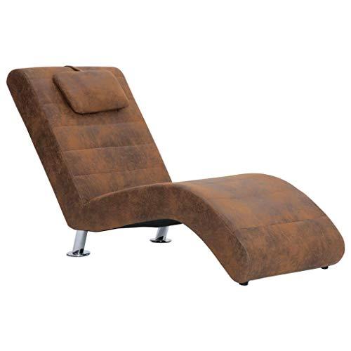 SengentoStyle Chaise longue met kussen kunstsuède bruin
