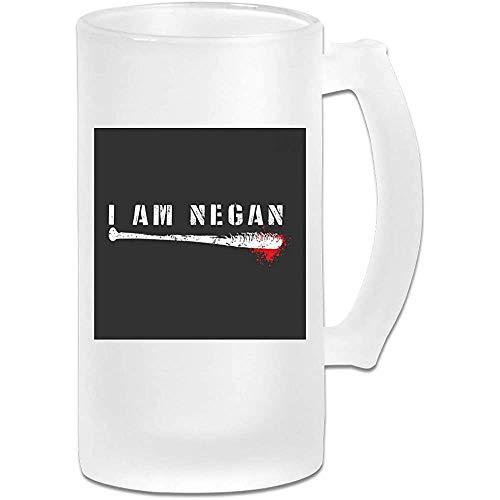 Tazza di birra Stein in vetro smerigliato stampato 16 once - I Am Negan Lucille - Tazza grafica
