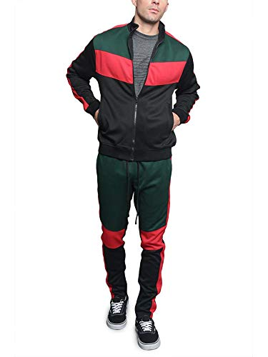 G-Style USA Tri Colorblocked Striped Outseam Sleeves Zipper Drawstring Fashion Workout Track Suit ST553 - Green - 2X-Large - V1A