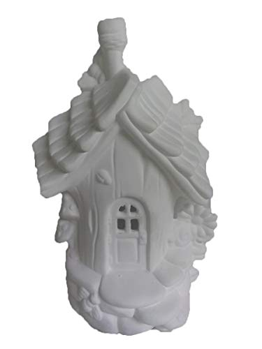 """Bumble Bee Abode 9"""" x 6"""" Fairy House Ceramic Bisque, Ready to Paint"""