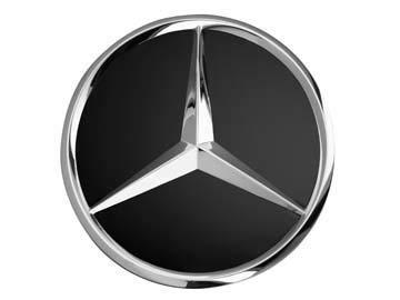 Original Mercedes-Benz & AMG Radnabenabdeckung Durchmesser ca. 74-75mm schwarz/silber/Lorbeerkranz (schwarz glänzend)