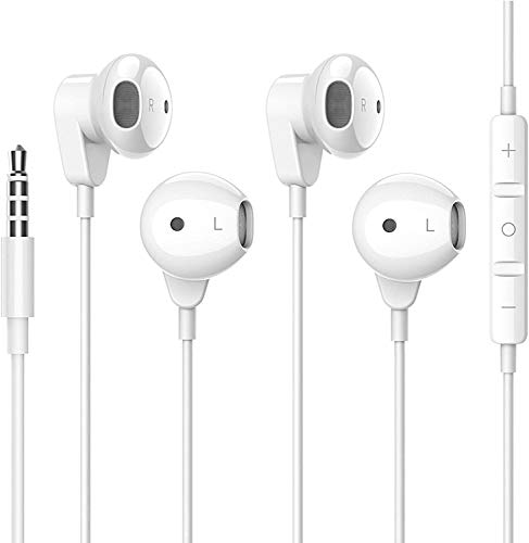 2 Pack 3.5mm Wired Headphone Plug, in-Ear Earphones, Earbuds Noise Isolating with Built-in Microphone & Volume Control Compatible with iPhone 6s 6 Plus 5s 5 iPad iPod MP3 MP4 Samsung Android Laptop
