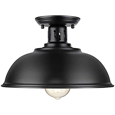 Farmhouse Semi Flush Mount Ceiling Light Fixture, E26 Medium Base, Industrial Black Pendant Lamp Shade, Great Close to Ceiling Lighting for Kitchen Island Corridor Porch Bedroom Foyer Hallway Entryway