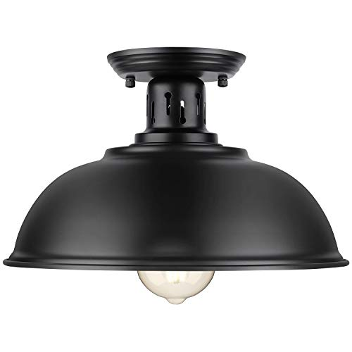 Farmhouse Semi Flush Mount Ceiling Light Fixture, E26 Base, Industrial Black Pendant Lamp Shade, Vintage Close to Ceiling Lighting for Kitchen Island Laundry Corridor Porch Foyer Hallway Entryway