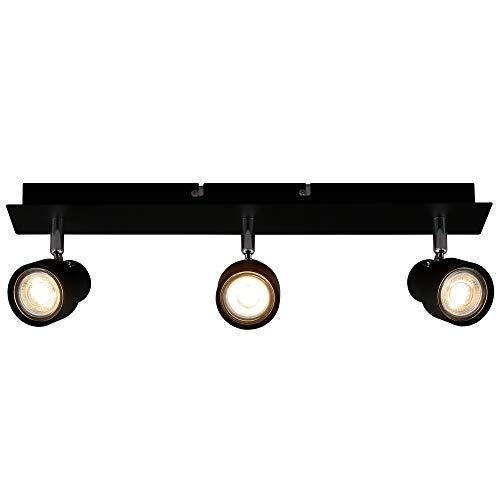 Briloner Leuchten LED Deckenspot, Deckenleuchte 3-flammig, Strahler dreh-und schwenkbar, 3x GU10, 5 Watt, 460 Lumen, 3.000 Kelvin, Schwarz
