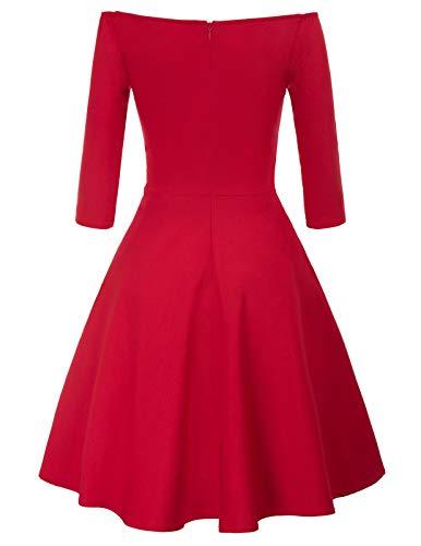 GRACE KARIN Mujer Vintage Vestido de 1950s para Cóctel Fiesta Vino XL CL010823-2