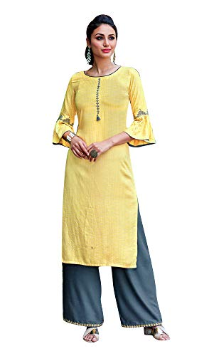 ladyline Rayon Embroidered Casual S…