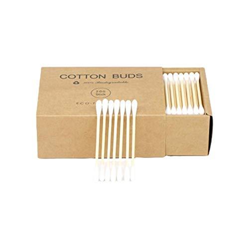 200 piezas de bambú doble punta algodón hisopo desechable brotes de algodón para limpieza y uso de maquillaje (con caja de papel Kraft)