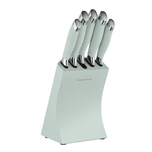 Morphy Richards 976033 Dune 5 Piece Knife Block with High-Grade Stainless Steel Blades and Ergonomic Design, Sage Green
