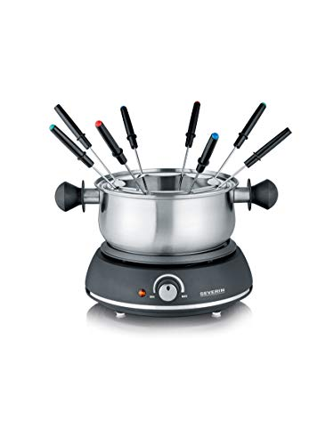 SEVERIN FO 2405 Fondue con Cacerola de Acero Inoxidable extraíble, Cable de alimentación XXL, 1.500 W, Incluye dispositivo antisalpicaduras y 8 Tenedores de Fondue, 1500 W, 1,3 litros, Negro