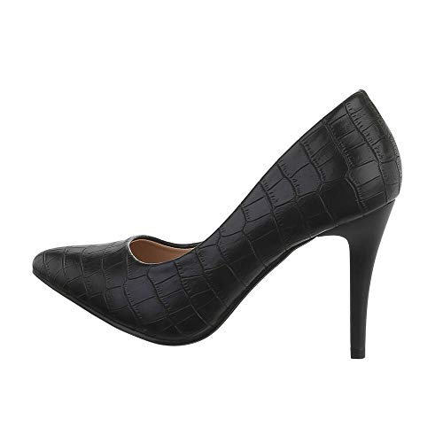 Ital-Design Damenschuhe Pumps High Heel Pumps, Q727-, Kunstleder, Schwarz, Gr. 36