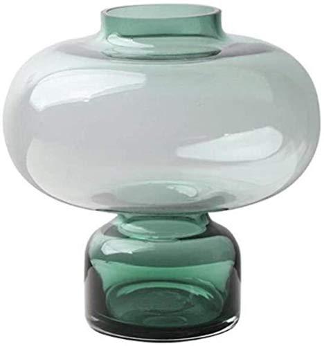 Jarrón para tumba de cristal exquisito, transparente, decoración del hogar, borde dorado, brillante, para flores (color: verde-a)