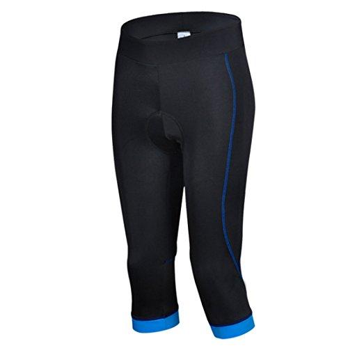 GWELL Damen Fahrradhose Radlerhose mit Sitzpolster Radhose 3/4 Komfort Slim Fit blau 2XL - 3