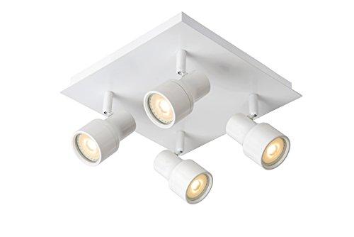 Lucide SIRENE-LED - Spot Plafond - Ø 10 cm - LED Dim. - GU10 - 4x4,5W 3000K - IP44 - Blanc