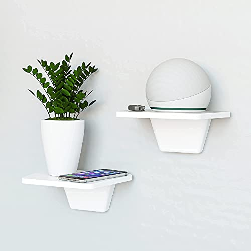 Fytz Design White Small Floating Shelf Set of 2 - Small Shelf for Wall with No Drill Shelf Option [ Adhesive Shelf ]