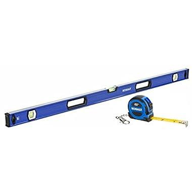 Kobalt 48 inch Premium Aluminum Box Beam Level with 6 ft Kobalt Tape Measure