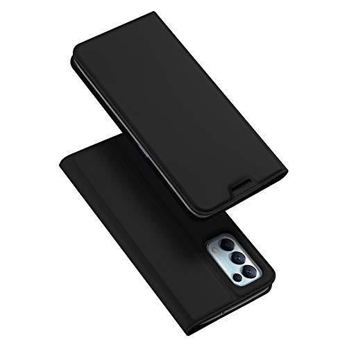 DUX DUCIS Hülle für Oppo Find X3 Lite, Leder Klappbar Handyhülle Schutzhülle Tasche Hülle mit [Kartenfach] [Standfunktion] [Magnetisch] für Oppo Find X3 Lite (Schwarz)