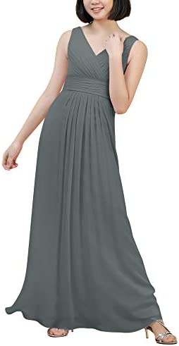 Alicepub V Neck Junior Bridesmaid Dresses Steel Grey Chiffon Long Flower Girl Dress for Wedding product image