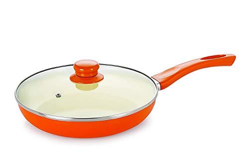 Nirlon Ceramic Nonstick Aluminium Induction Frying Pan with Lid, 1.5 litres, Orange